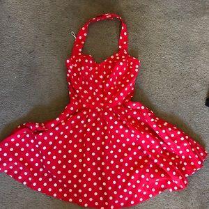 1980's polka dot mini sweat heart dress